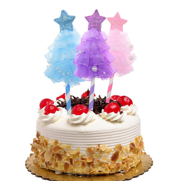 20pc Cake Toppers Flags Star Dress Happy Birthday Glitter Cupcake Topper Wedding Bride Kids Cake Party Baby Shower Baking DIY