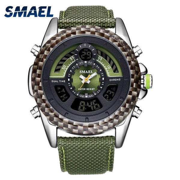 Smael Famous Brand new Leather Wristwatches for Men Double Display G Style relogio Cool Waterproof Sport masculin