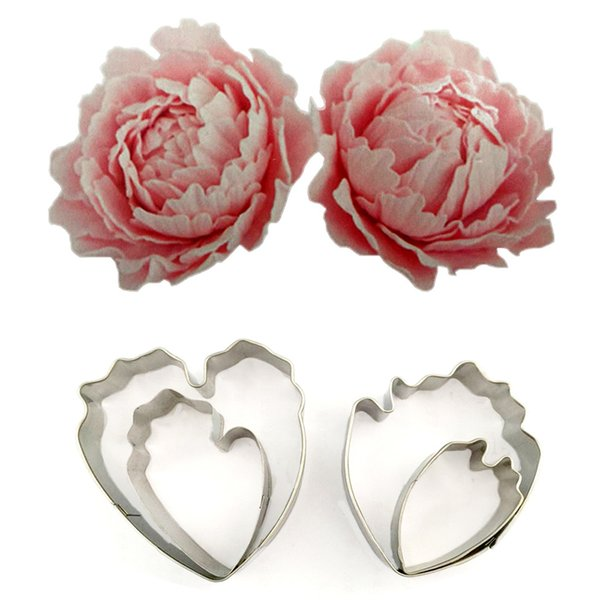 4pcs/set Peony Flower Mold Fondant Cake Decoration Cookie Biscuit Floral Petal Cutter Stainless Steel Sugarcraft Tools