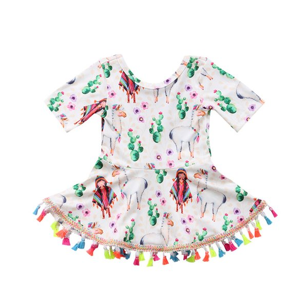 0-4Y Lovely Alpaca Pattern Summer Dress Cute Toddler Kids Baby Girl Floral Print Tutu Tassel Mini Dress Princess Party Sundress