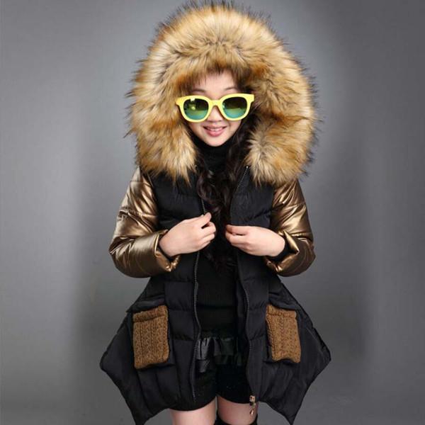 Kızlar giyim çocuklar kış kapşonlu kalınlaşma pamuklu ceket çocuk giyim uzun tarzı ceket çocuk sıcak ceket kızlar sevimli 3-13Y tops