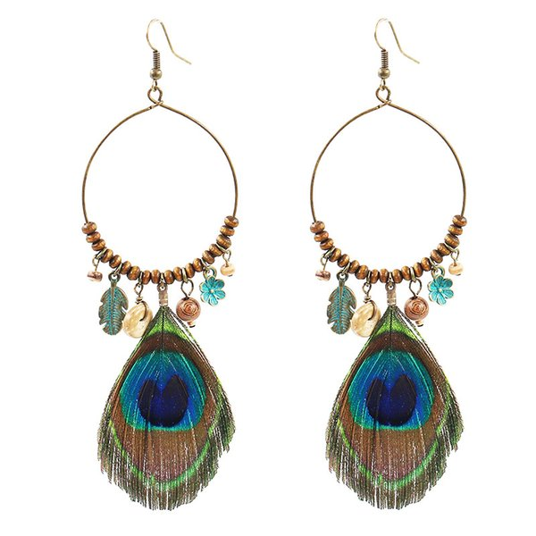 Creativity Peacock Feather Wood Bead Long Earring Europe America Vintage Circles Alloy Earring Temperament Popular Upscale Women Jewelry