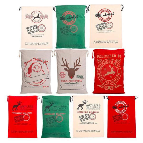 new 2018 Christmas Gift Bags Large Organic Heavy Canvas Bag Santa Sack Drawstring Bag With Reindeers Santa Claus Sack Bags for kids