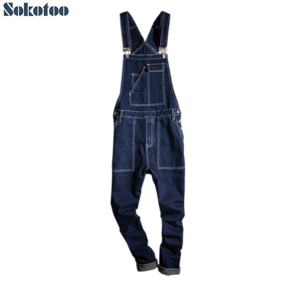 Sokotoo Men's contrast color top stitching pocket denim bib overalls Slim fit dark blue suspenders jumpsuits Jeans