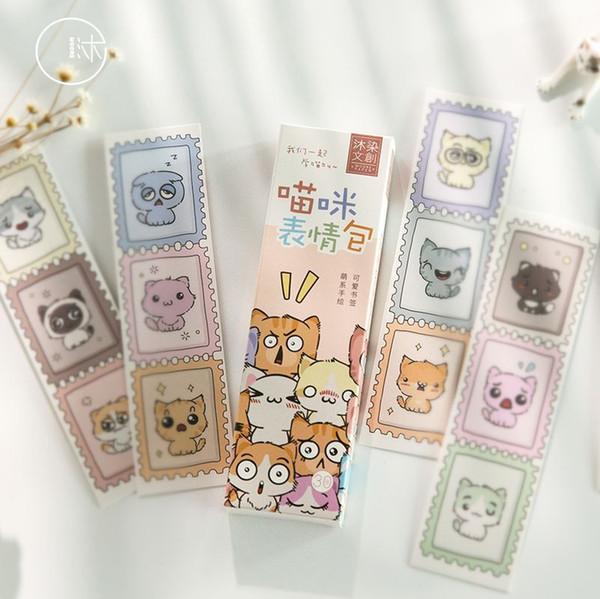 30 teile / paket Nette katze ausdruck Papier Lesezeichen Für Bücher Lehrer Geschenk Korean Schreibwaren Buch Marker Schulbedarf Schreibwaren