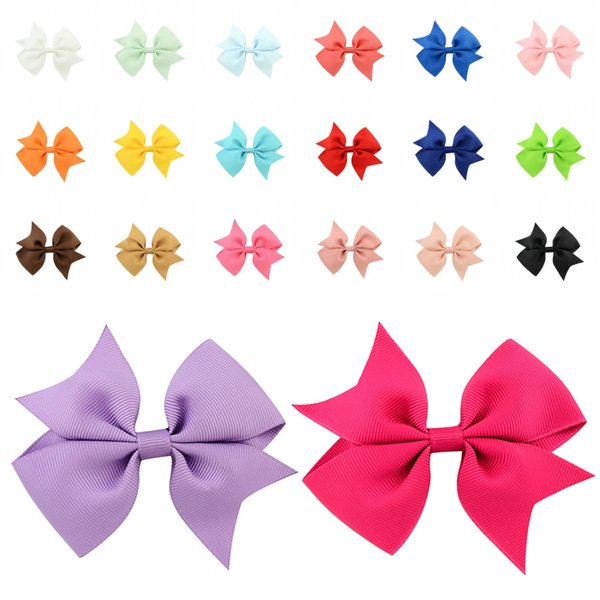 Solid Color Ribbed Ribbon Fish Tail V-Shaped Bow With Clip 20 Colors Kid Boutique Fashion Accessories Bowknot Hairpins D490Q