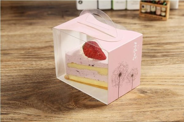 12X8X10CM PVC Cake Box Portable Transparent Window Display Pastry Biscuit Cupcake Boxes Baking Packaging Case