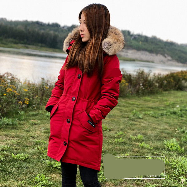 Women Parkas WINTER CANADA ROSSCLAIR-5 GOOSE Down & Parkas WITH HOOD/Snowdome jacket Brand Real Raccoon Collar White Duck Outerwear & Coats