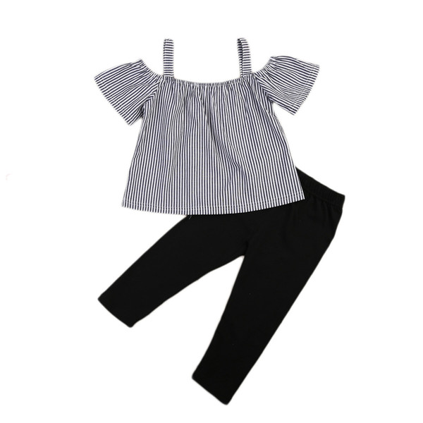 Kid Baby Girl Off Shoulder Tops T-Shirt Striped Print + Black Pants 2 Pcs Outfits Kid Casual Clothes Girls Summer Boutique Costume