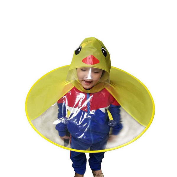best selling Cute Cartoon Duck Children Raincoat Umbrella UFO Shape Rain Hat Cape 2018 New Arrival High Quality