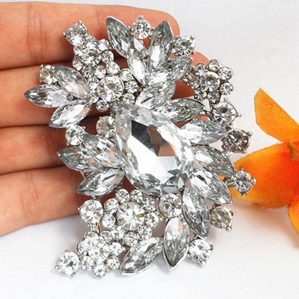 3 Inch Huge Flower Brooch Luxury Large Crystal Bridal Broach Costume Corsage Wedding Jewelry Accessories Top Quality