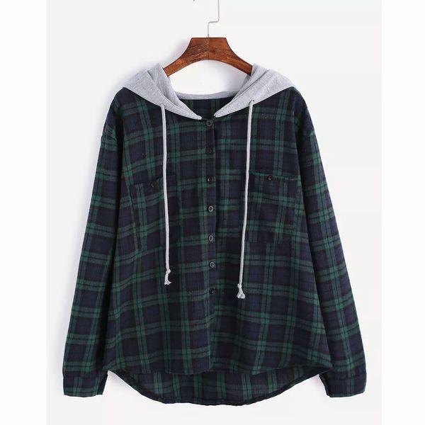 Hoody Womens Long Sleeve Plaid Print Patchwork O Neck Sweatshirt Casual Hooded Blouse Women's Plaid Hooded Ladies chaqueta mujer