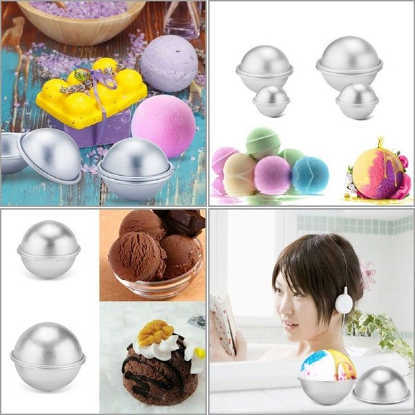 top popular 3D Aluminium Alloy Cake Mold Bath Bomb Baking Moulds Roast Ball Mold Own Crafting Handmade 3 Sizes 500pcs AAA424 2019