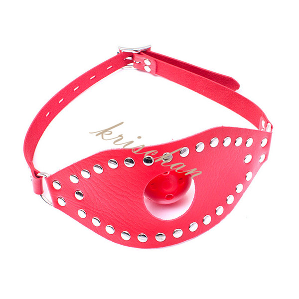 Fetish Oral Sex Products Toys For Women ,BDSM Ball Gag Mouth Plug Head PVC Leather Bondage Belt Slave In Adult Games ,
