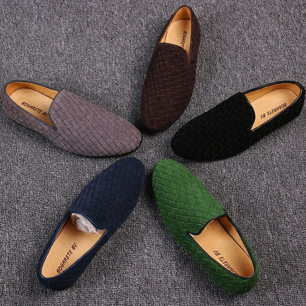 Plaited Handmade Driving Loafers Flat heel Slip on Breathable Peans Shoe Dress Shoes