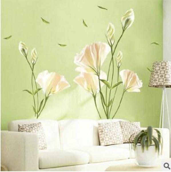 Büyük boy 3D yeşil zambak çiçekler vinil duvar çıkartmaları ev dekor DIY oturma odası kanepe duvar çıkartmaları ev dekorasyon kağıtları
