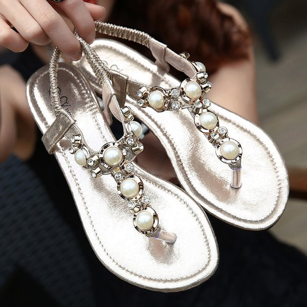 New women's sandals T with rhinestone sandals flat fashion women's shoes flat women's sandals