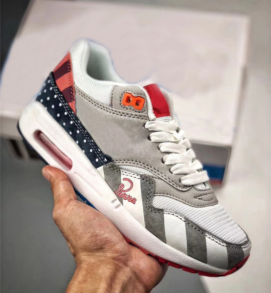 2018 New 97AirMax 1 Parra Sean Wotherspoon 1/97 Blue Men Running Shoes Authentic Corduroy Rainbow AT3057-100 Multi Pink Sneaker With Box