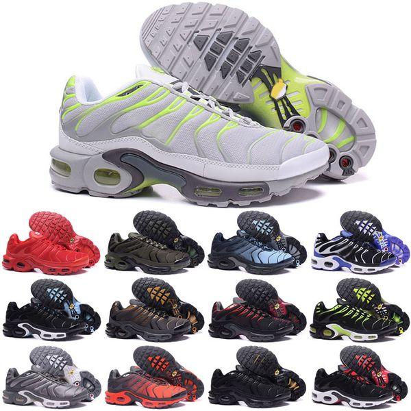 Yeni Koşu Ayakkabıları Erkekler TN Ayakkabı tns artı hava Moda Artan Havalandırma Casual Eğitmenler Zeytin kırmızı, mavi, siyah Sneakers Chausseures
