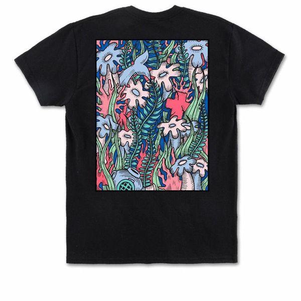 Pink Dolphin Men's Coral View T Shirt Black Urban Casual Clothing Apparel Tops Mens 2018 fashion Brand T Shirt O-Neck