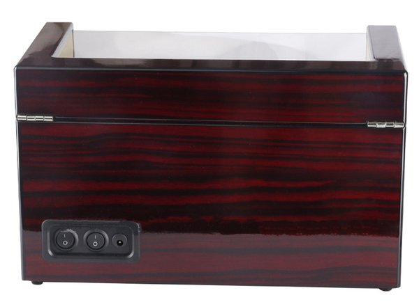 Uso global 110-240 V AC / DC ADAPTADOR Presente De Luxo De Madeira Brilhante 4 Grids Relógio Winder Box para Relógios Loja Display Girar Assista