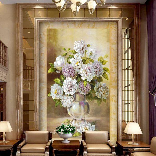 Europäischen Stil Vase Blume Ölgemälde Wandbild Tapete Wohnzimmer Hotel Eingang Korridor Hintergrund Tapeten Wohnkultur 3 D.