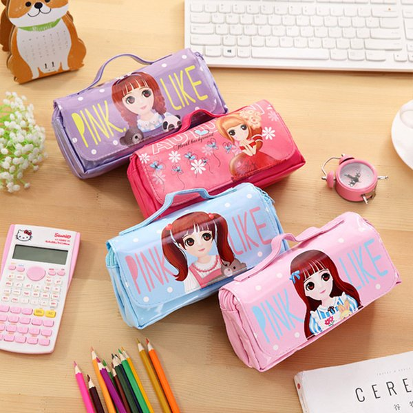 Lovely Small Fresh Girl Pencil Case Cute Multi Layer Purpose High Capacity Pencil Bag Stationery