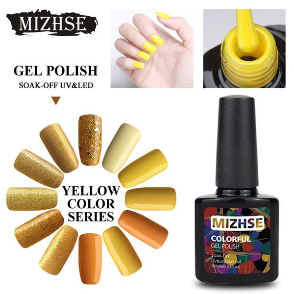 MIZHSE 10ML Giallo Nail Art Gel Polish Soak Off Gel Unghie Decorazione Esmalte Permanente Builder Nail Set Per Carimbo De Unha