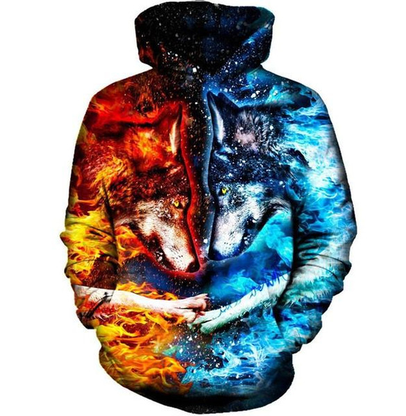 2017 new fashion Cool sweatshirt Hoodies Men women 3D print Ice and Fire nice Wolf hot Style Streetwear Long sleeve clothes