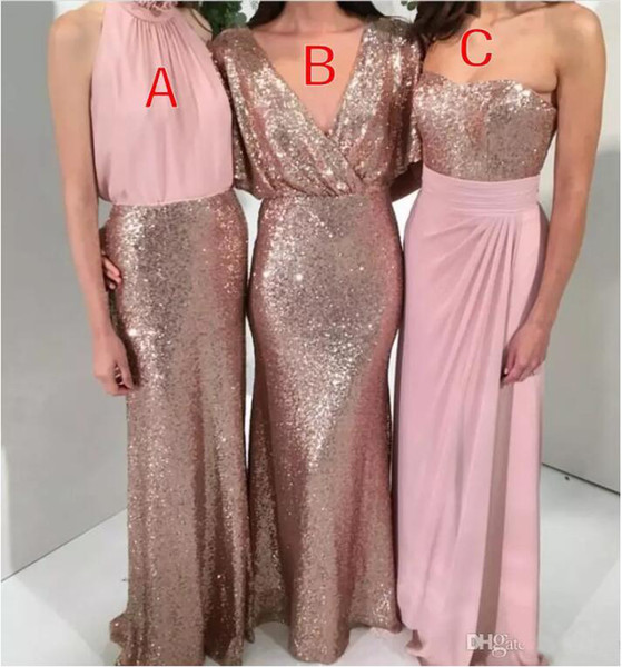 2019 A-Line Country Boho Sequined Bridesmaid Dresses Rose Gold with Pink Mermaid Custom Made Wedding Party Dress Formal Gowns Maid of Honor