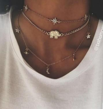 bohemian new choker necklaces triple layer moon, star , elephant charm gold /silver tone chokers gift idea womens pendant necklaces