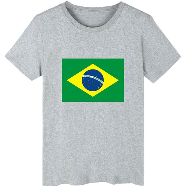 Brazil t shirt Country flag short sleeve gown National banner leisure tees Unisex clothing Pure color Tshirt