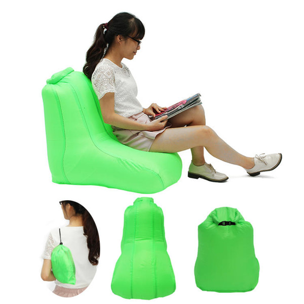 Fashion Lazy Bag Bean Bag Chairs for Adults 190T Polyester 120x60x48cm Air Inflatable Folding Chair Water Resistant Sofa Max Load 150kg