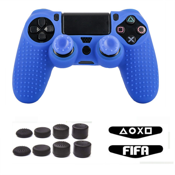 Controlador PS4 Silicone Grips Pack para Playstation 4 PS4 / Slim / Pro Anti Slip Caso Light Bar Adesivo para Dual Shock 4 controlador