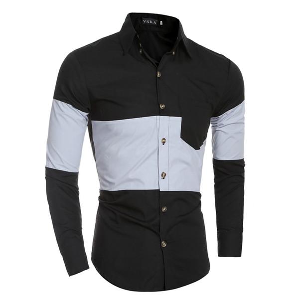 Korean Style Men Shirt Patchwork Dress Shirt Long Sleeve Camisa Masculina