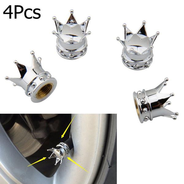 best selling 4pcs Universal Chrome Crown Style Car Tire Air Valve Stems Cover Caps Wheel Rims