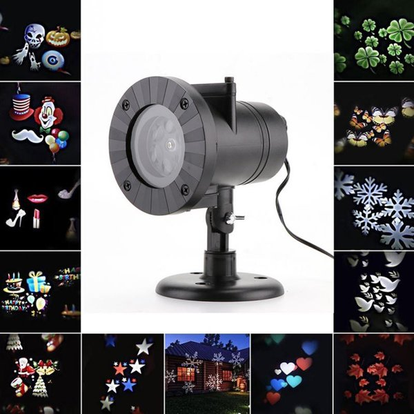 12 Types Party Laser Snowflake Projector Outdoor LED Lamp Waterproof Disco Lights Home Garden Star Light Indoor Decoration Christmas