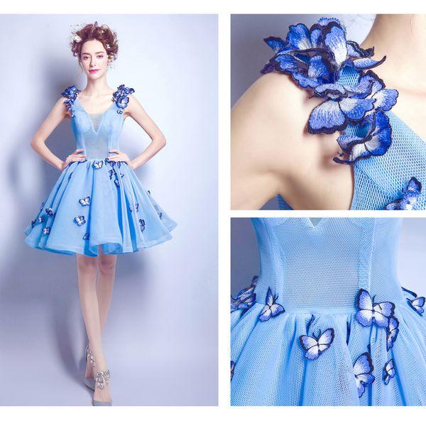 Evening Dress Short Blue Homecoming Dresses Formal Gowns Prom Dress Sweet 16 Dress Vestido debutante Gowns 2533