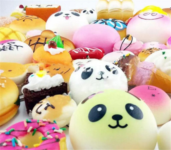 10pcs/lot Kawaii Squishies Bun Toast Donut Bread for cell phone Bag Charm Straps Wholesale mixed Rare Squishy slow rising lanyard new