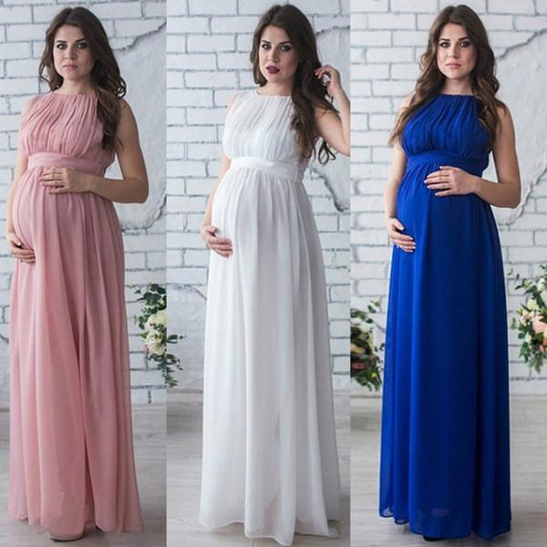 wenjingcomeon / 2018 nuevo vestido de maternidad largo vestido bohemio ropa para mujeres embarazadas vestido de maternidad vestido embarazo vestido maxi