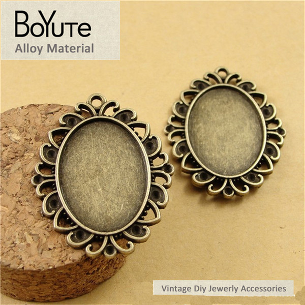 BoYuTe (40 Pieces/Lot) 25*18MM Cabochon Base Antique Bronze Plated Zinc Alloy Blank Pendant for Jewelry Findings Diy Necklace Bracelets