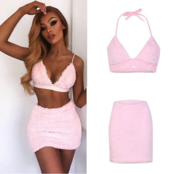 2018 Nuevas Mujeres Sexy Ropa de Piel Rosa Conjunto Verano Clubwear Correa Halter Crop Top Bra + Mini Falda Bodycon Señora Evening Party Clothes