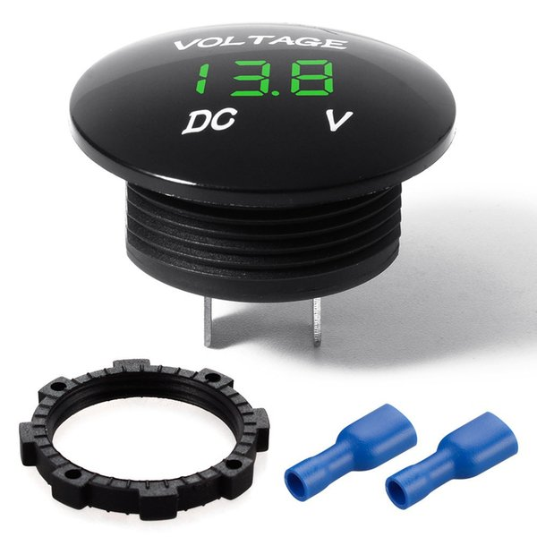 DHL 50 STÜCKE 12 v 24 v LED Digital Spannung Volt Meter Display Panel Voltmeter Manometer Auto Motorrad
