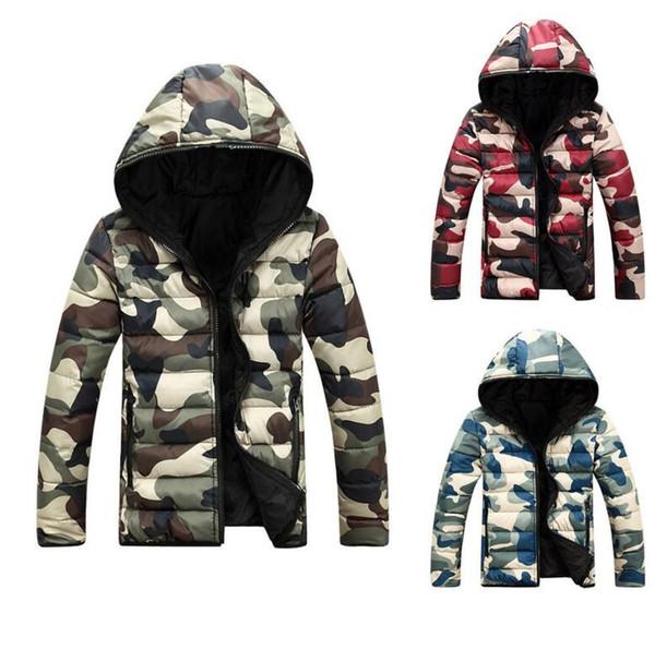 Erkek Sıcak Kamuflaj Ceket Kapşonlu Kış Fermuar Coat Palto Dış Giyim Casual Ceketler Sıcak Kapşonlu Coat KKA4148