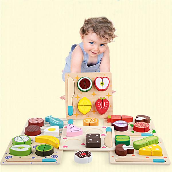 2018 vendita calda cucina giocattoli giocattolo in legno cucina tagliata frutta verdura dolce bambini cucina giocattolo articulos de cocina gudetamaS