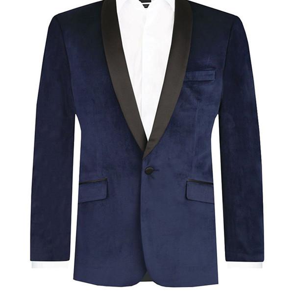 Two Piece Navy Blue Velvet Mens Suits Two Piece Blazer Black Shawl Lapel Jacket Black Pants Custom Made Men Suits 2018