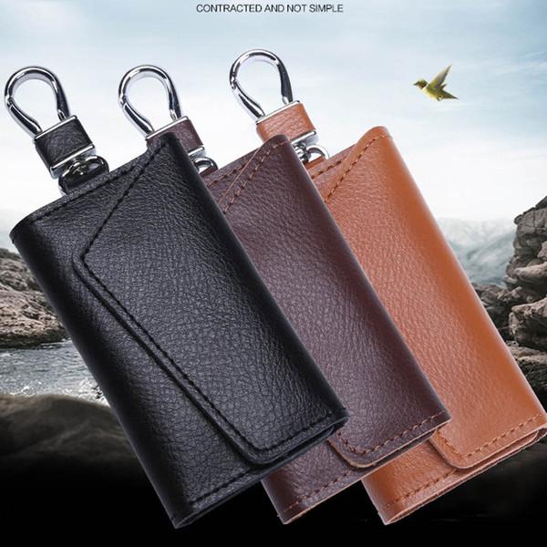 11 Styles High Quality Leather Car Key Bag 6 Key Holder Multi-Function Smart Key Ring Large Capacity Waist Wallet Bag Unisex Wholesale H901F