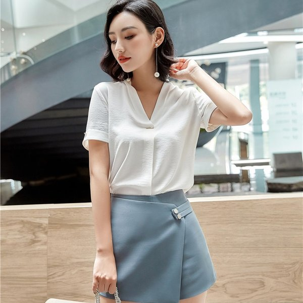 2018 Summer New Fashion Formal 2 Piece Set Women Business Suits With Tops And Skirt For Women Office Work Wear Sets Plus Size