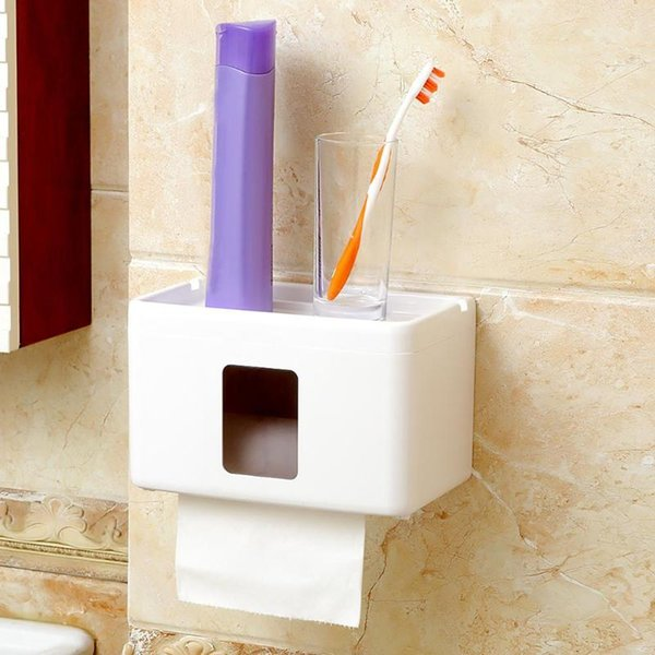 Waterproof Toilet Paper Holder Tissue Holder Roll Paper Box Durable Bathroom Accessories Wall Mounted Plastic