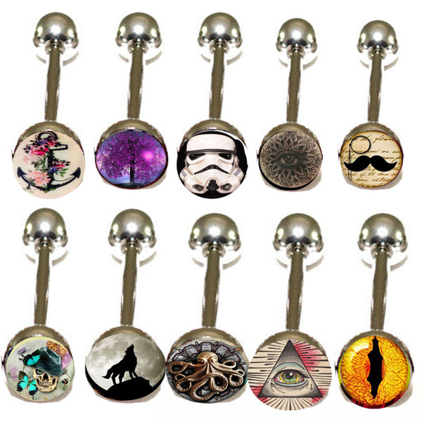 Mixed 10 Logo 100pcs Tongue Bar Tongue Piercing Tongue Rings Barbell Stainless Steel Mixed Size Fancy Body Piercing Jewellry 14g